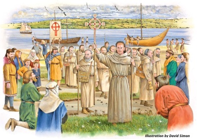 Artist's reconstruction of Aidan of Lindisfarne's arrival in Aberlady, AD 634