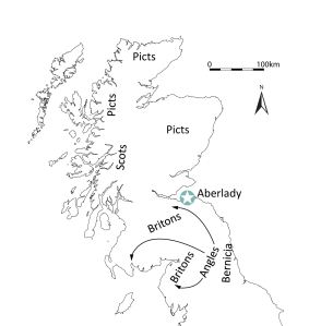 During the later 6th and into the 7th centuries AD, the Anglians expanded north, establishing the kingdom of Bernicia (after Alcock 2003, Fig. 1)