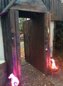 The entrance to our timber hall (c) Aberlady Primary